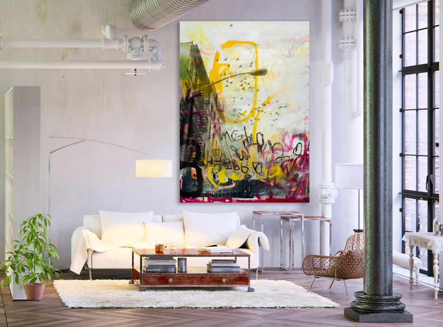Large Contemporary Urban Abstract Expressionism Street Graffiti Original Painting New York City Pigeons