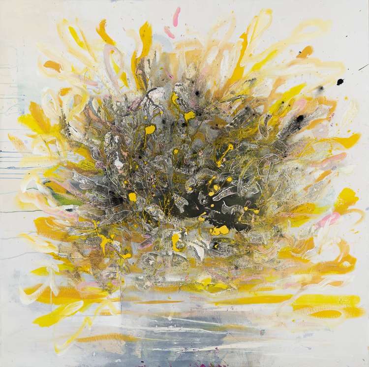 Large yellow contemporary abstract expressionism painting; urban edge