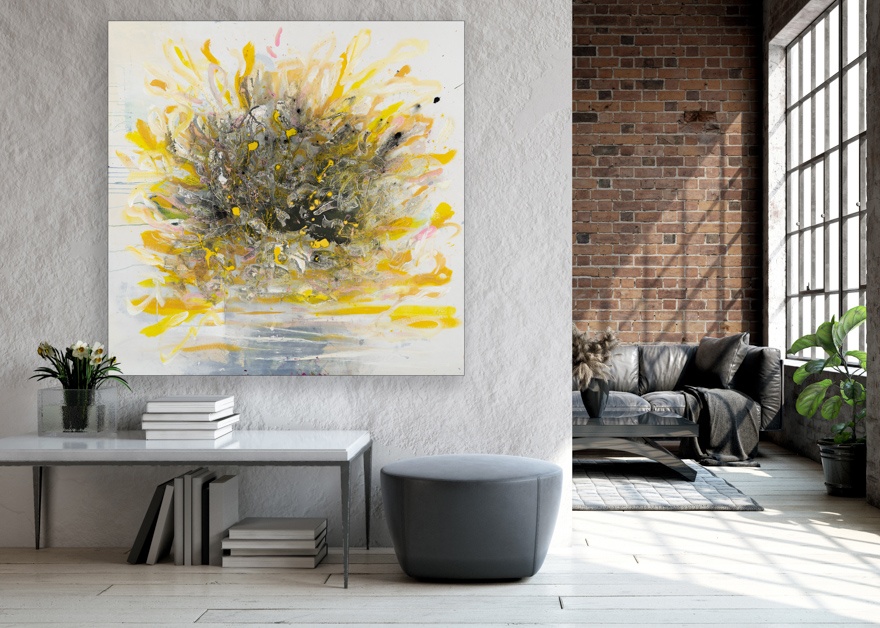 Large Contemporary Urban Abstract Expressionism Street Graffiti Original Yellow Painting