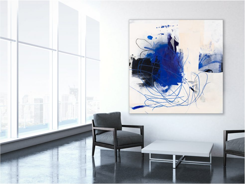 Large Contemporary Blue White Abstract Painting Urban Industrial Graffiti Art Loft