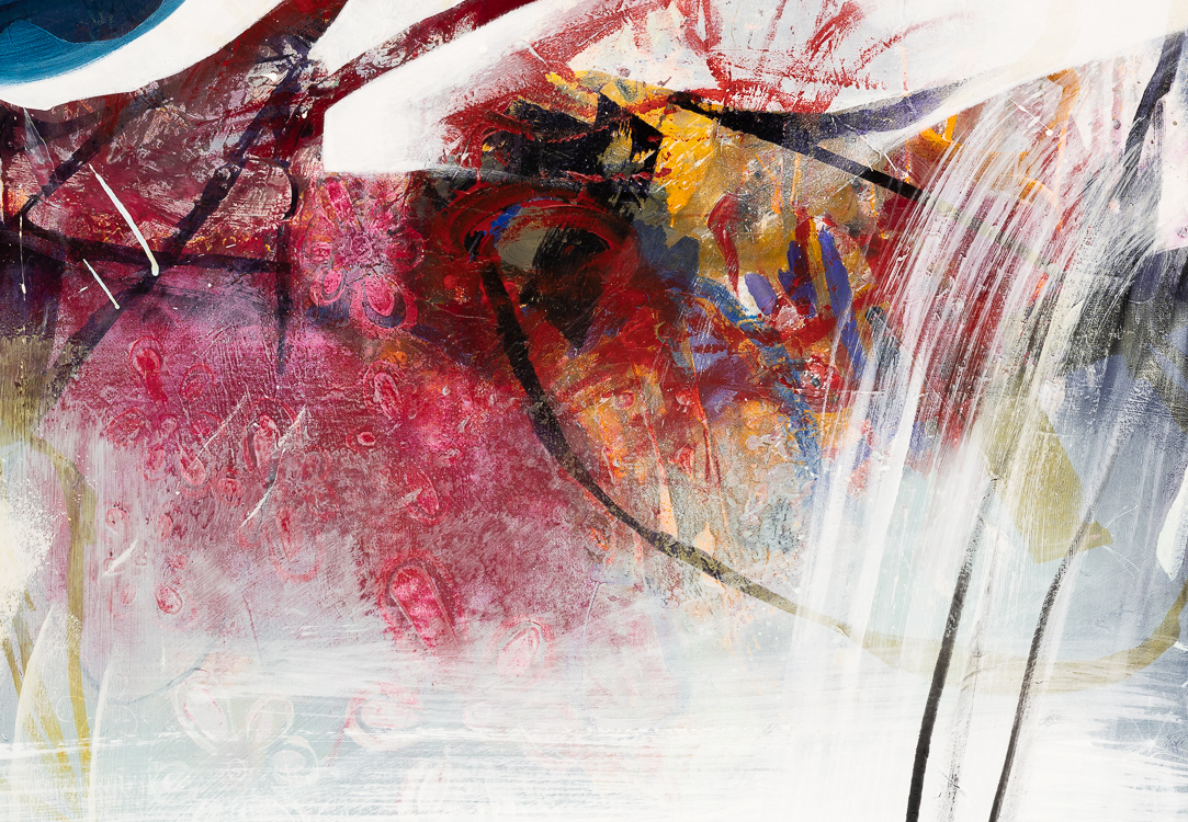 Detail - Large Contemporary Abstract Painting Colorful Urban Industrial Graffiti Art Loft