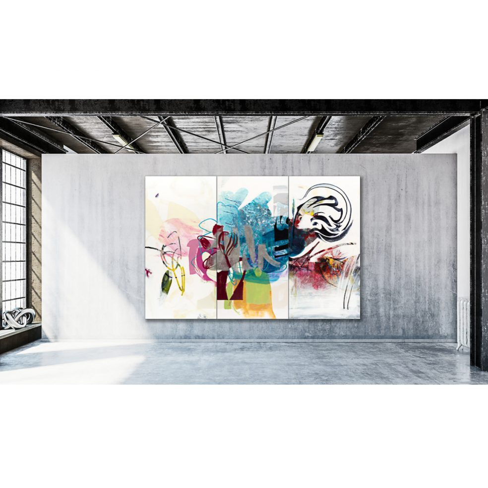 Large Contemporary Abstract Painting Colorful Urban Industrial Graffiti Art Loft