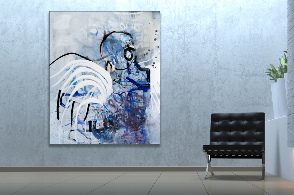 Oversized Contemporary Urban Abstract Expressionism Paintings and Large Loft Art Laura Letchinger BLUEBIRD mockup