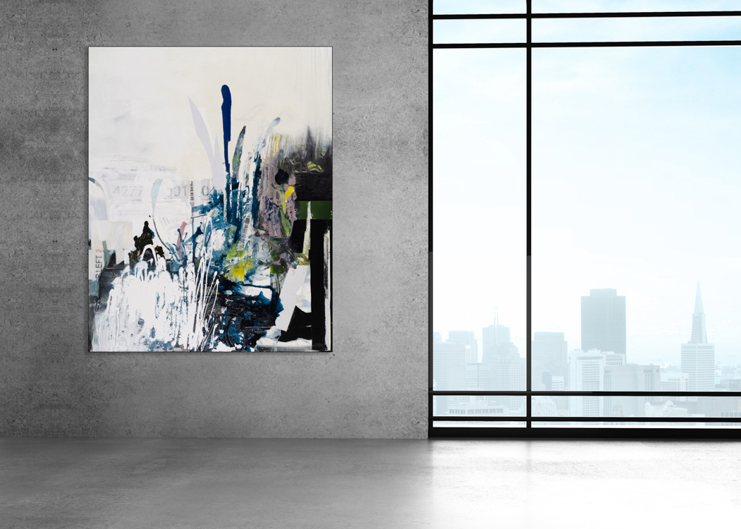 Oversized Contemporary Urban Abstract Expressionism Paintings and Large Loft Art Laura Letchinger INTERSECTION mockup
