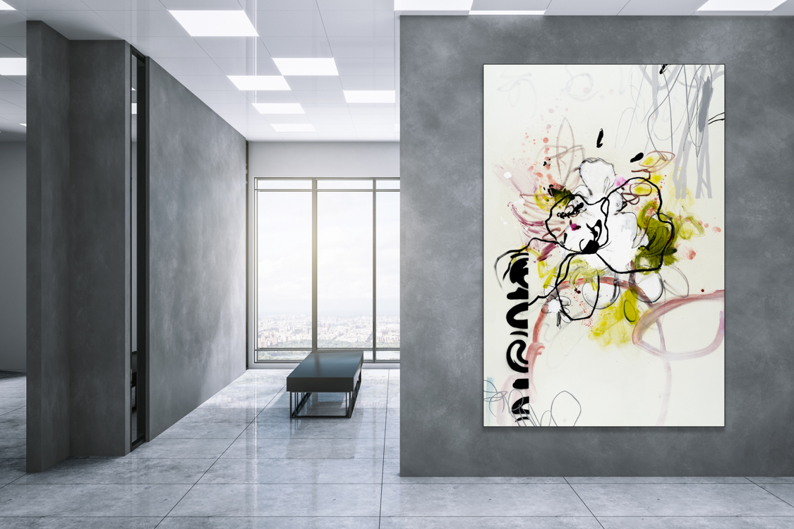 Oversized Contemporary Urban Abstract Expressionism Paintings and Large Loft Art Laura Letchinger MARIGOLD mockup