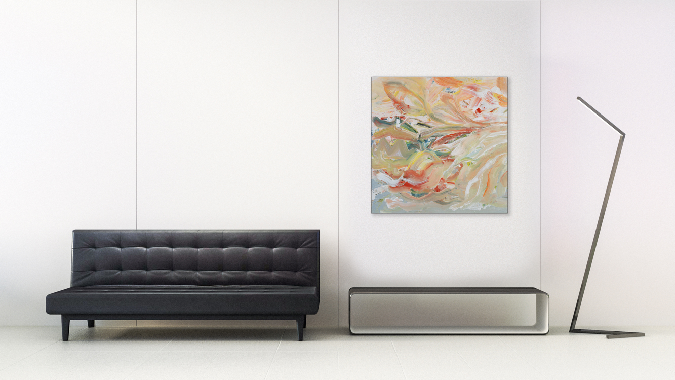 Oversized Contemporary Urban Abstract Expressionism Paintings and Large Loft Art Laura Letchinger RIVERS-EDGE mockup