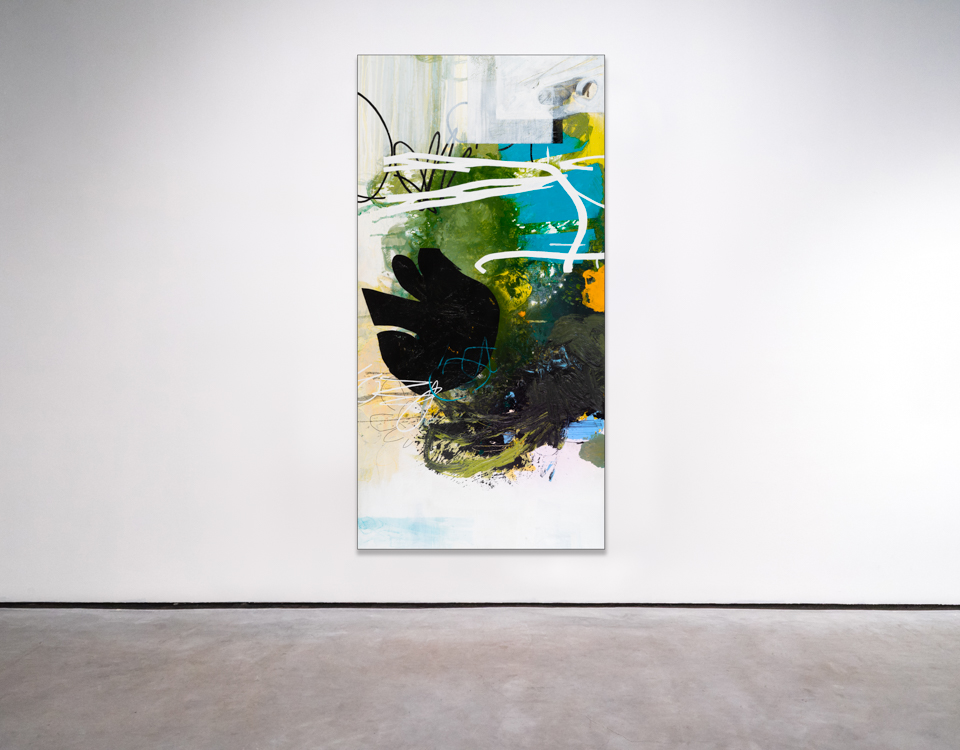 Oversized Contemporary Urban Abstract Expressionism Paintings and Large Loft Art Laura Letchinger SKYDIVE mockup