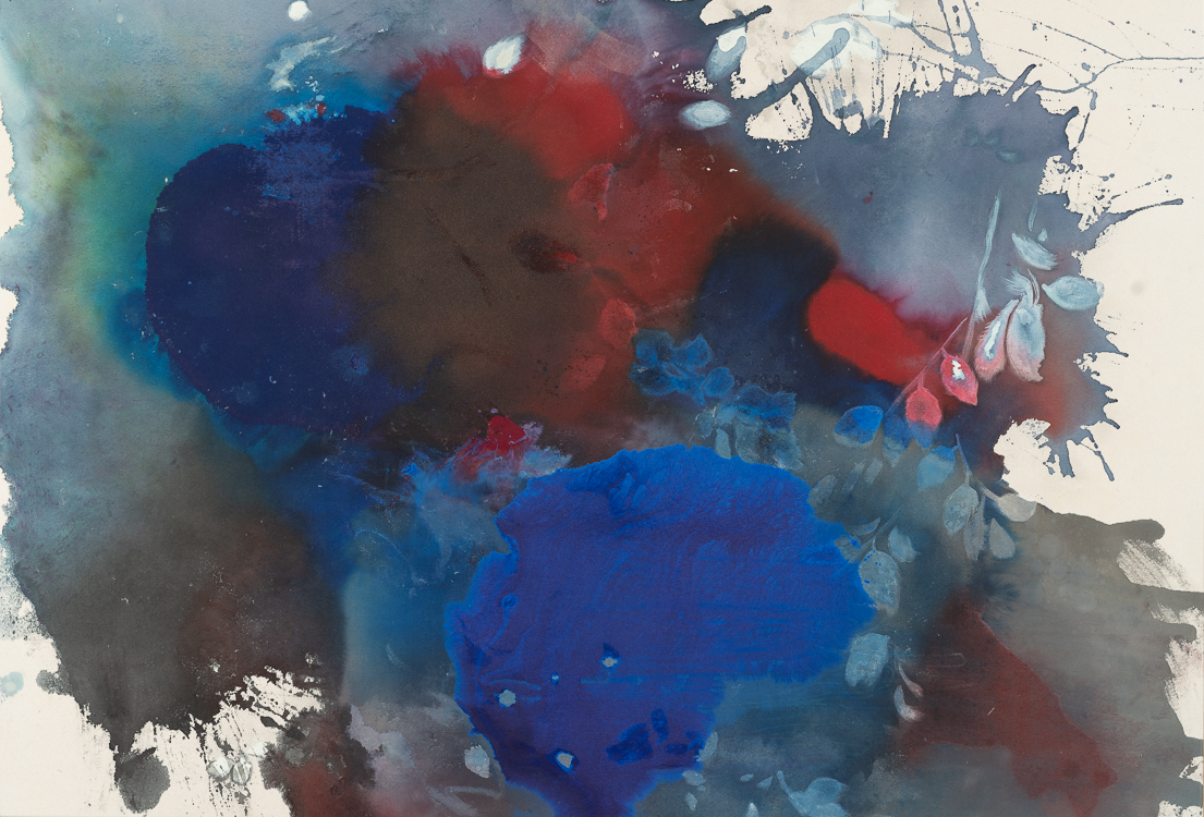 Laura Letchinger Large Contemporary Abstract Painting Stain Blue Urban Nature