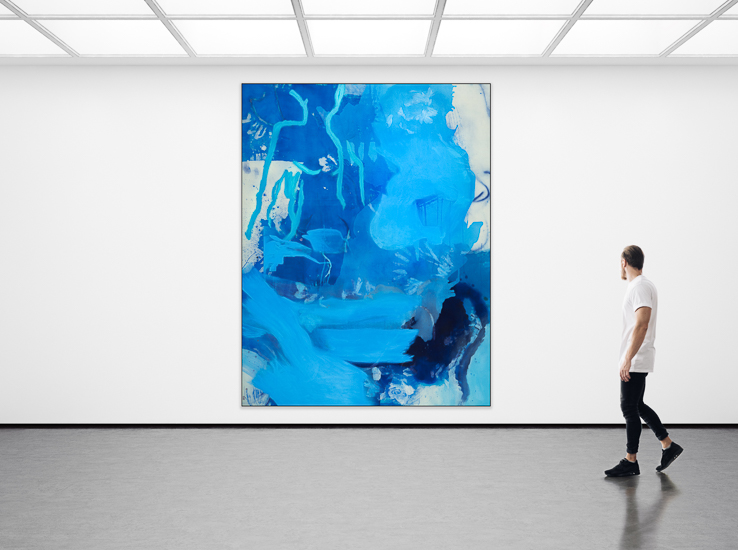 Laura Letchinger Oversized Blue Contemporary Abstract Painting