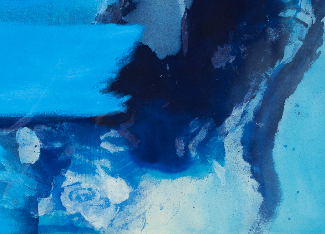 Laura Letchinger Oversized Blue Contemporary Abstract Painting detail4