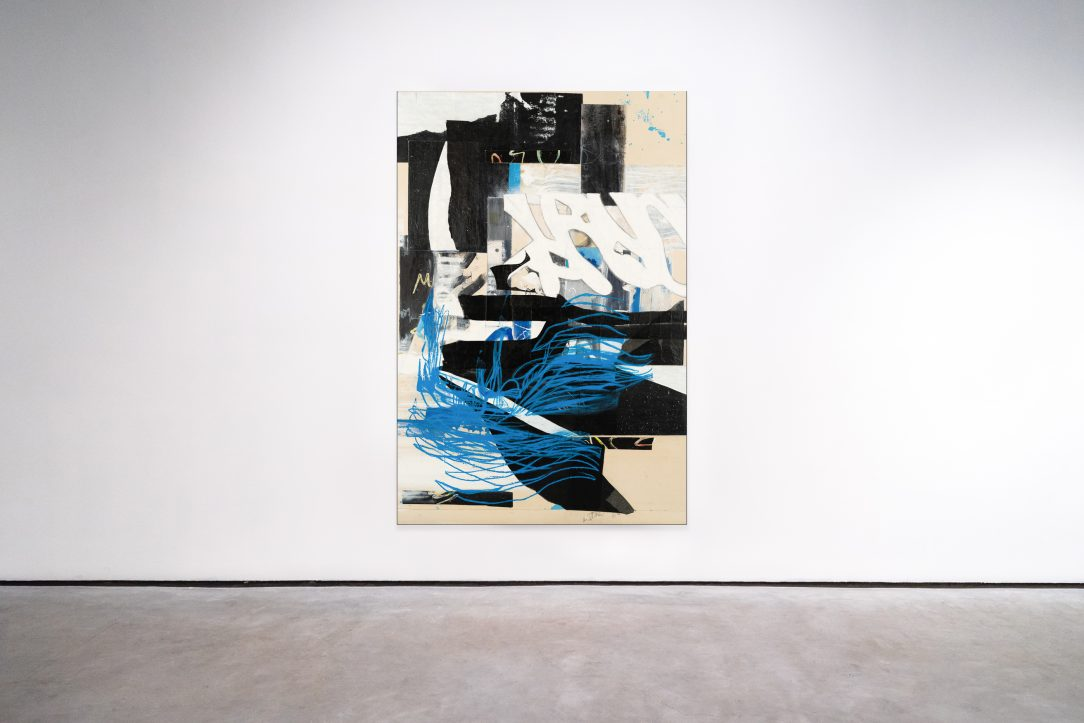 Large urban abstract painting blue black white Laura Letchinger mockup