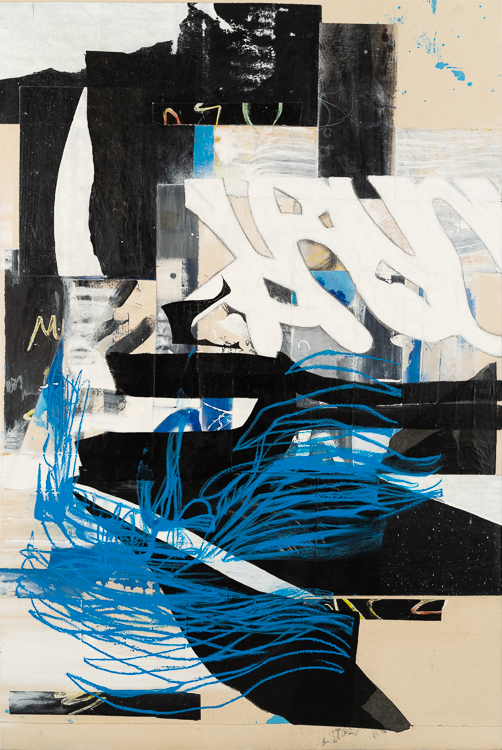 Large urban abstract painting blue black white Laura Letchinger