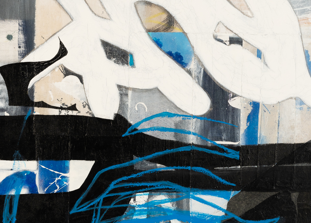 Large urban abstract painting blue black white Laura Letchinger detail 2