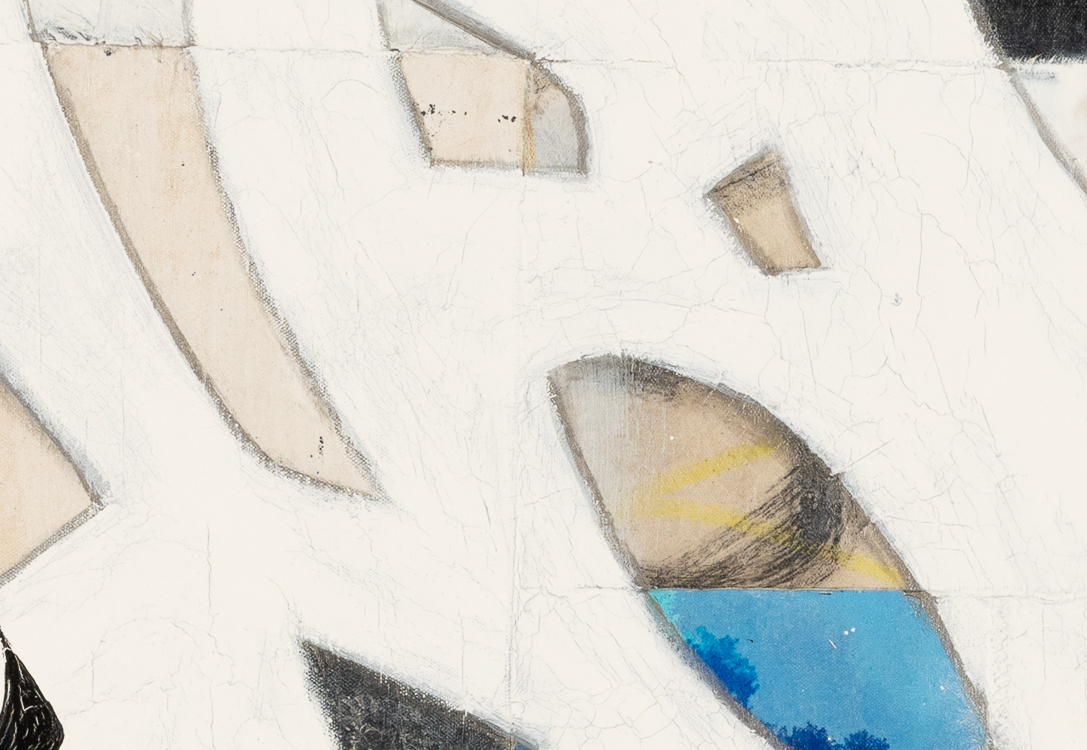 Large urban abstract painting blue black white Laura Letchinger detail3
