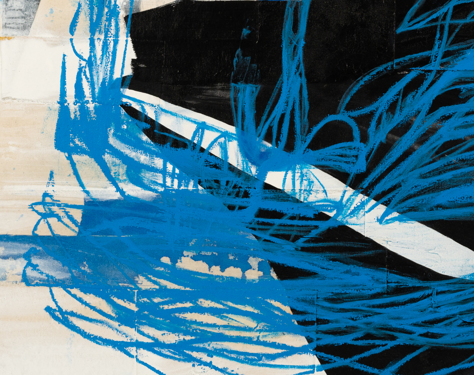 Large urban abstract painting blue black white Laura Letchinger detail4