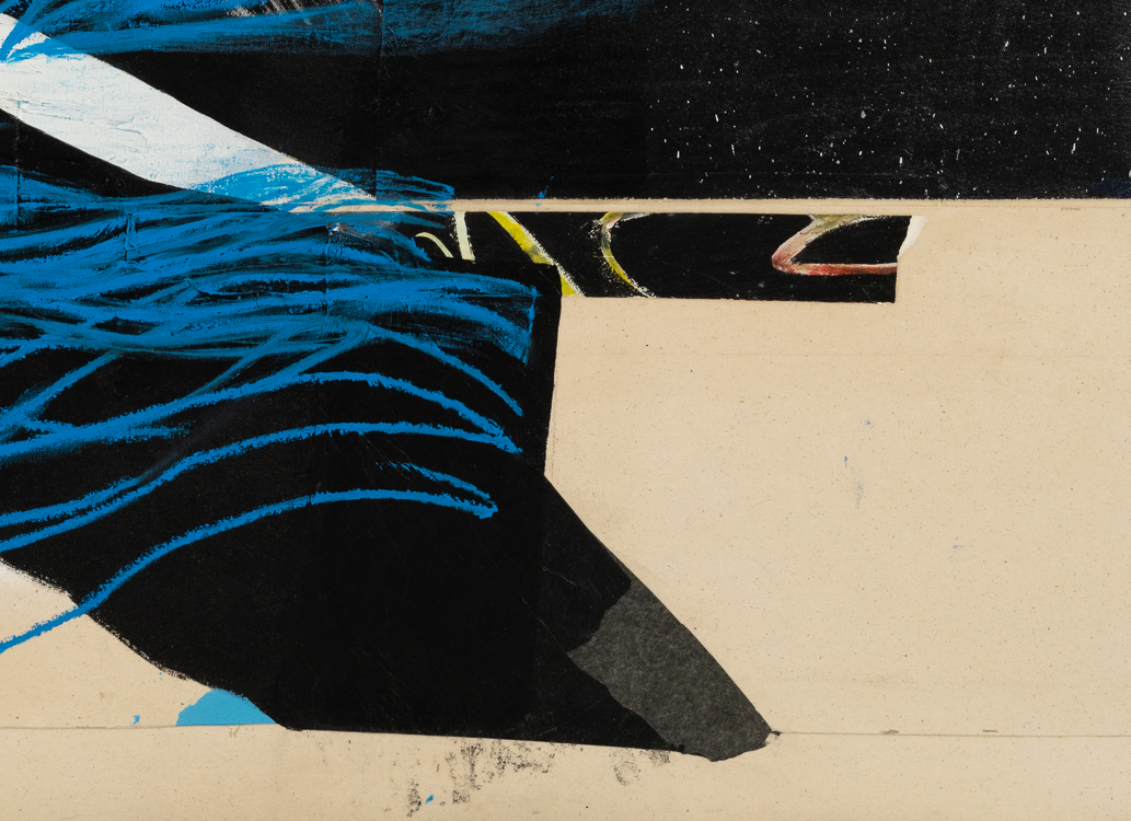 Large urban abstract painting blue black white Laura Letchinger detail5