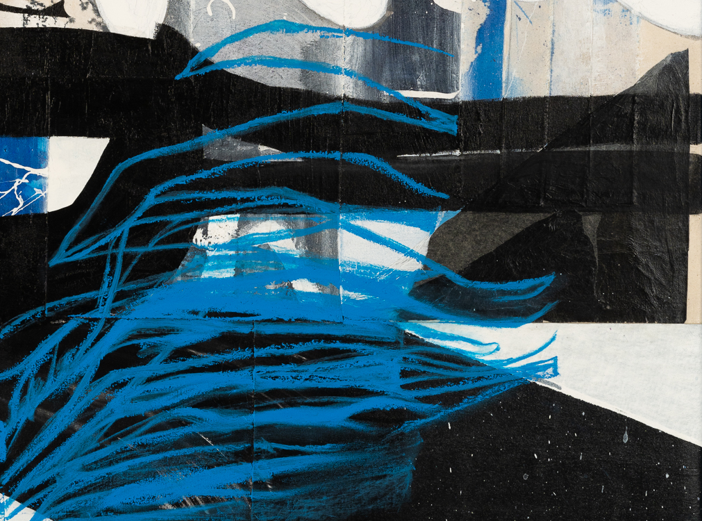 Large urban abstract painting blue black white Laura Letchinger detail6