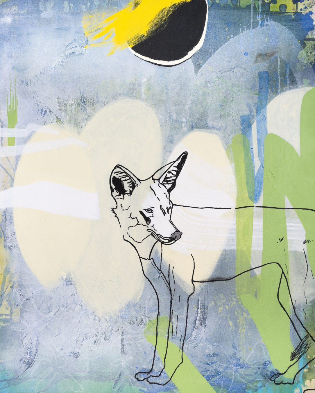Large contemporary urban abstract coyote painting Laura Letchinger