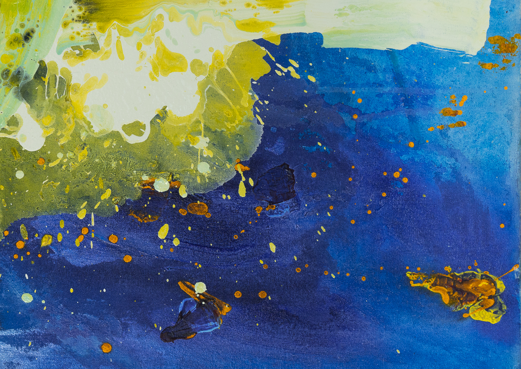 Large contemporary urban abstract water painting Laura Letchinger detail3