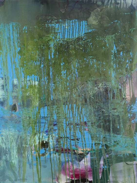Large contemporary abstract painting Laura Letchinger blue green POND
