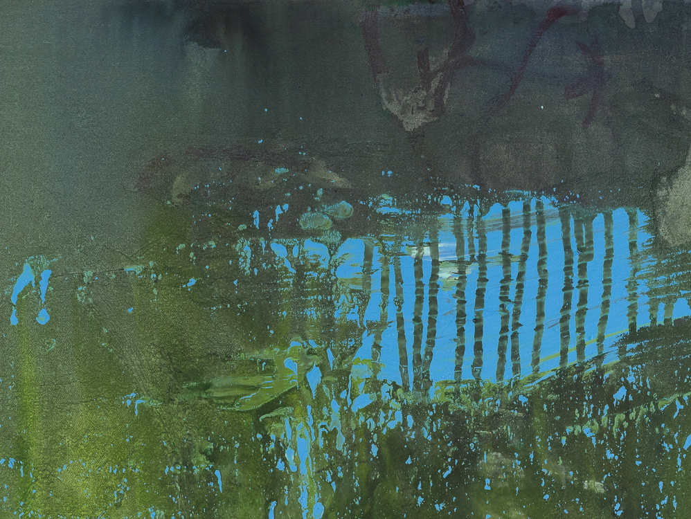 Large contemporary urban abstract blue green water painting Laura Letchinger POND detail1