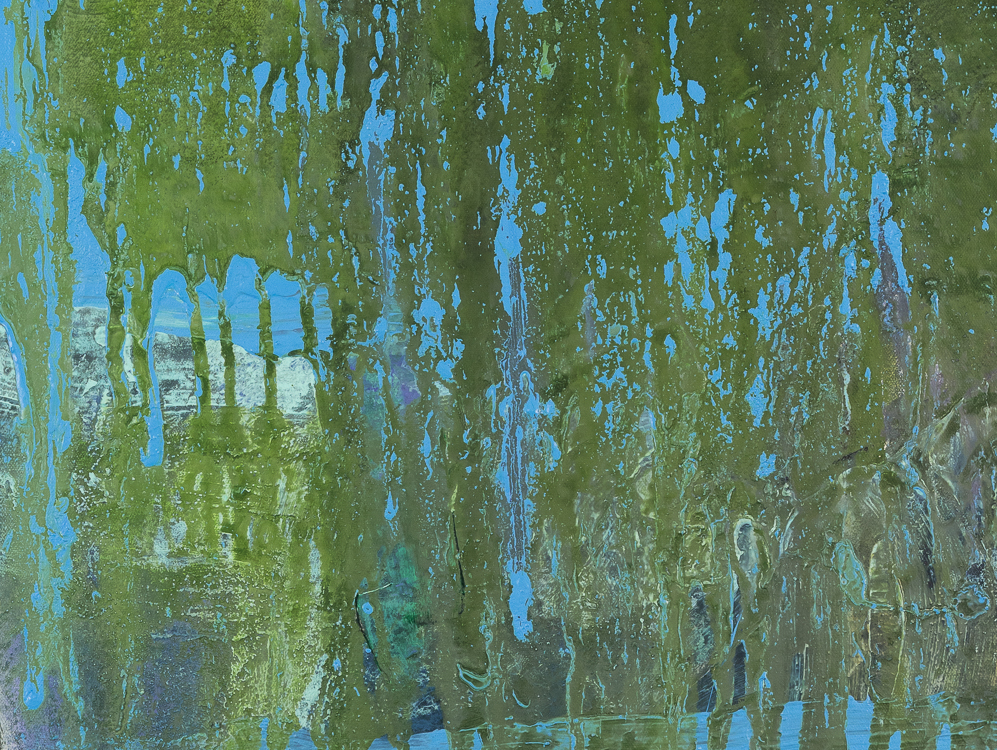 Large contemporary urban abstract blue green water painting Laura Letchinger POND detail2