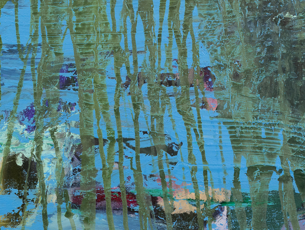 Large contemporary urban abstract blue green water painting Laura Letchinger POND detail3