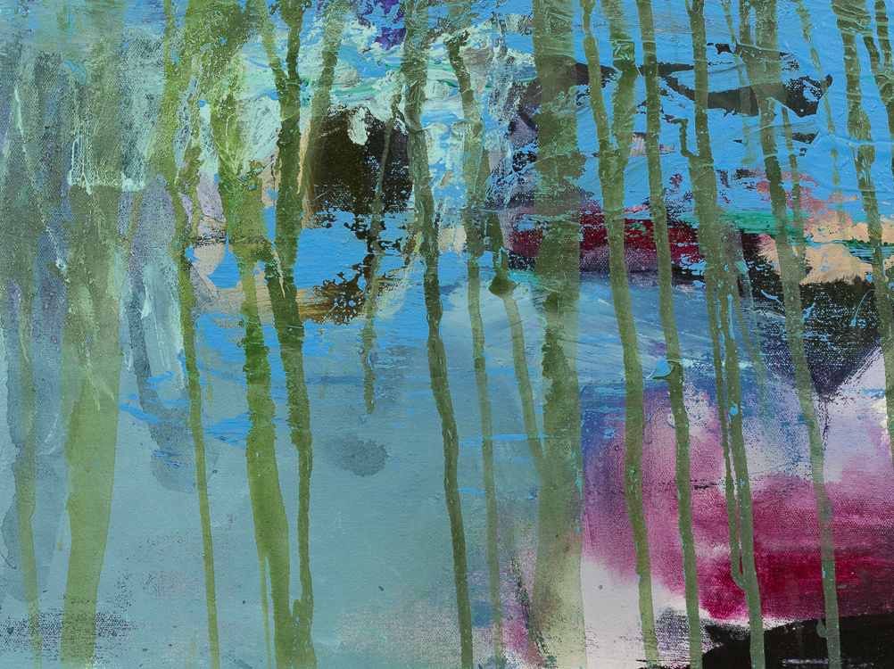 Large contemporary urban abstract blue green water painting Laura Letchinger POND detail4