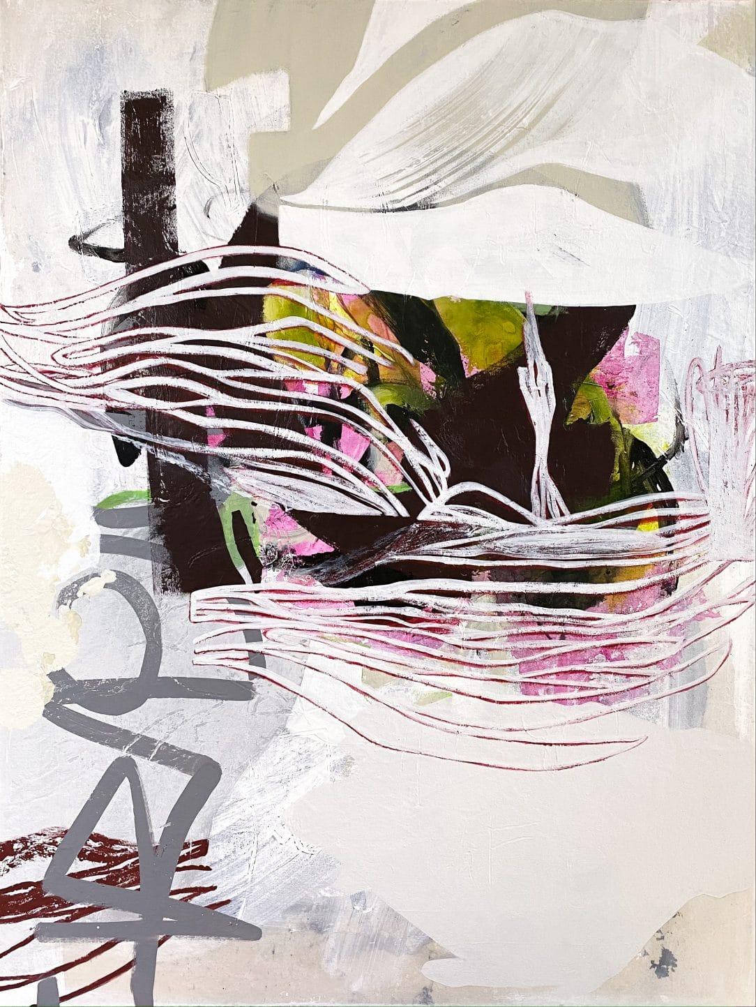 Large White Contemporary Urban Abstract Graffiti Painting Urban Edge Laura Letchinger SATURDAY