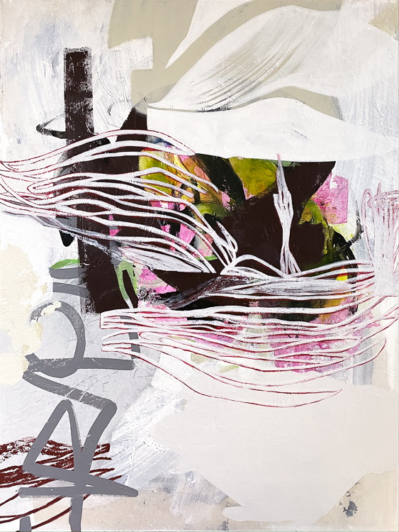 Large White Contemporary Urban Abstract Street Graffiti Painting Los Angeles Artist Laura Letchinger