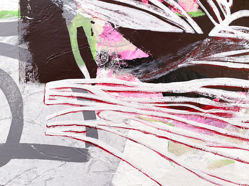 Large White Contemporary Urban Abstract Graffiti Painting Urban Edge Laura Letchinger SATURDAY detail