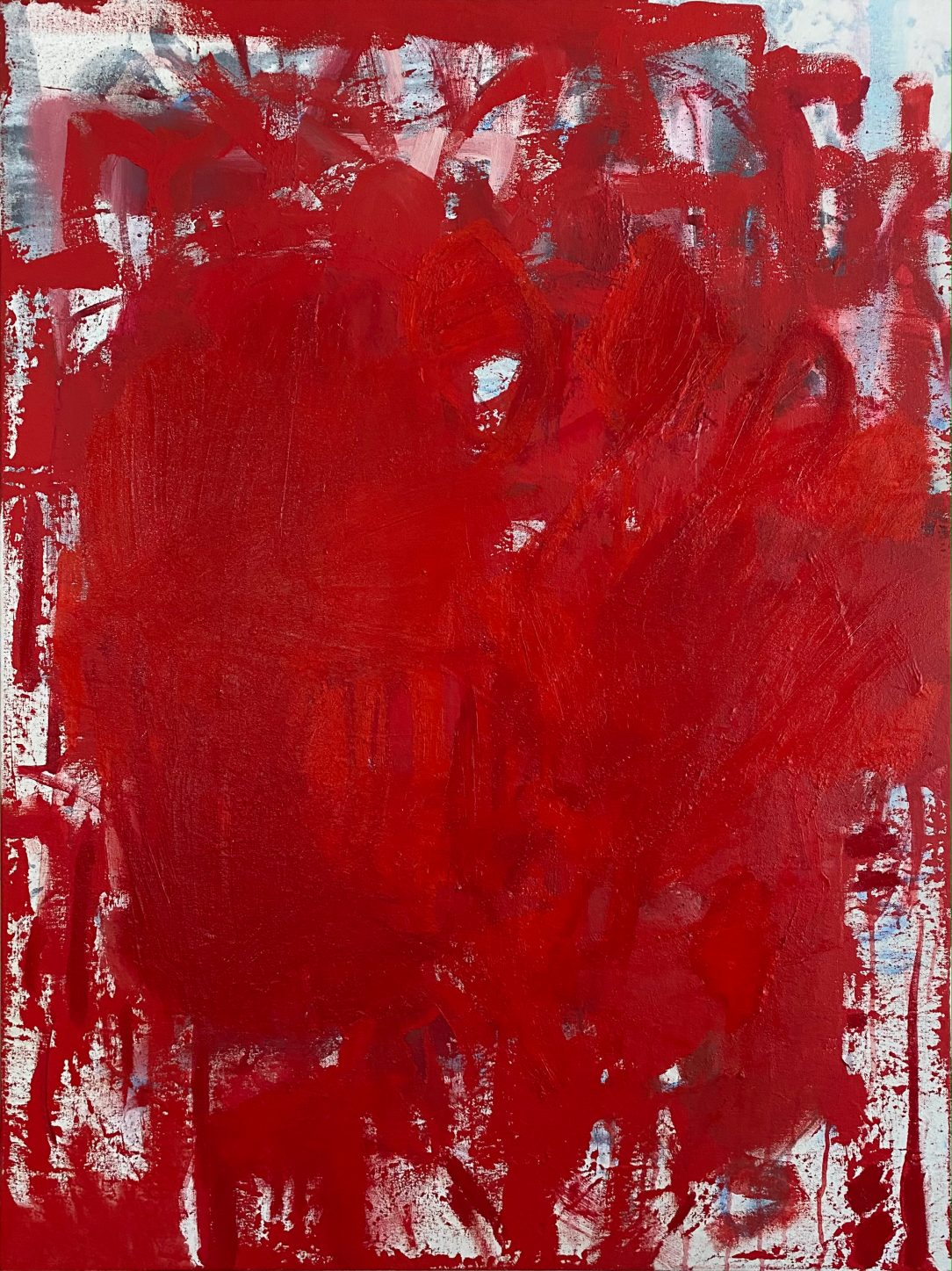Large red modern abstract painting Los Angeles contemporary artist Laura Letchinger