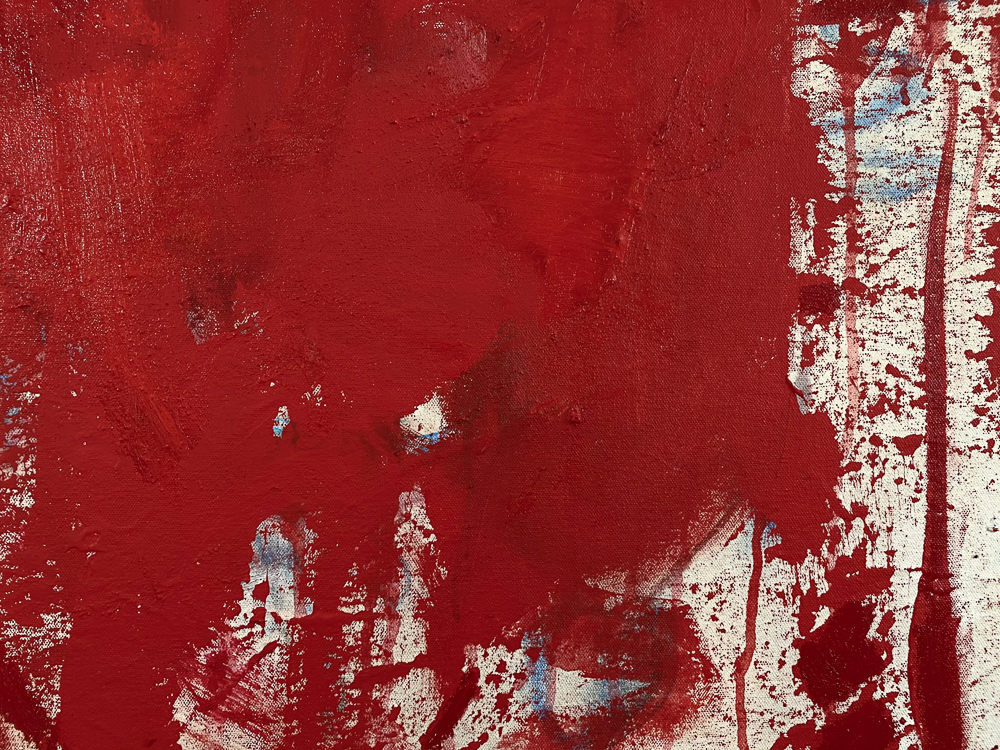 Large red modern abstract painting Los Angeles contemporary artist Laura Letchinger - detail1