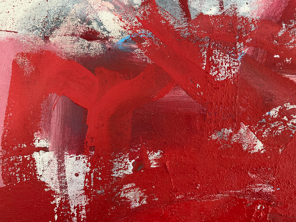 Large red modern abstract painting Los Angeles contemporary artist Laura Letchinger - detail2