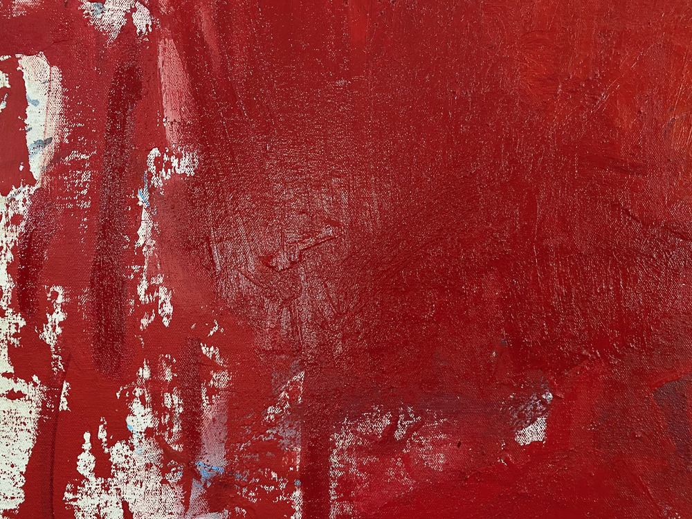 Large red modern abstract painting Los Angeles contemporary artist Laura Letchinger - detail3