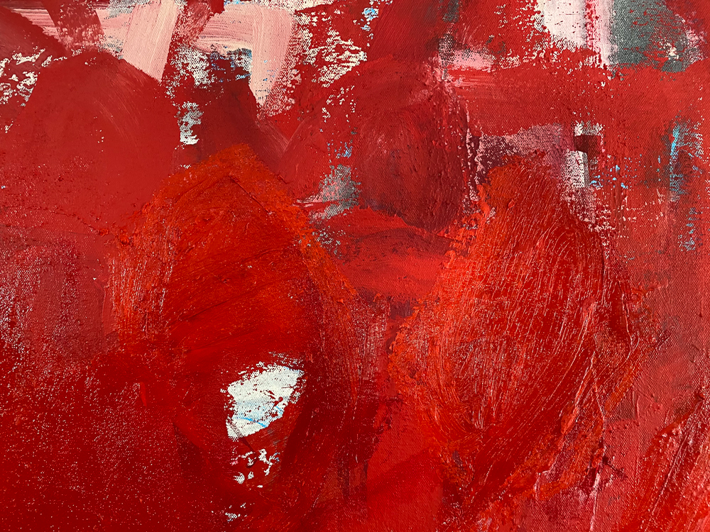 Large red modern abstract painting Los Angeles contemporary artist Laura Letchinger - detail4
