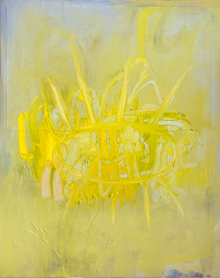 large yellow abstract painting los angeles artist Laura Letchinger POD
