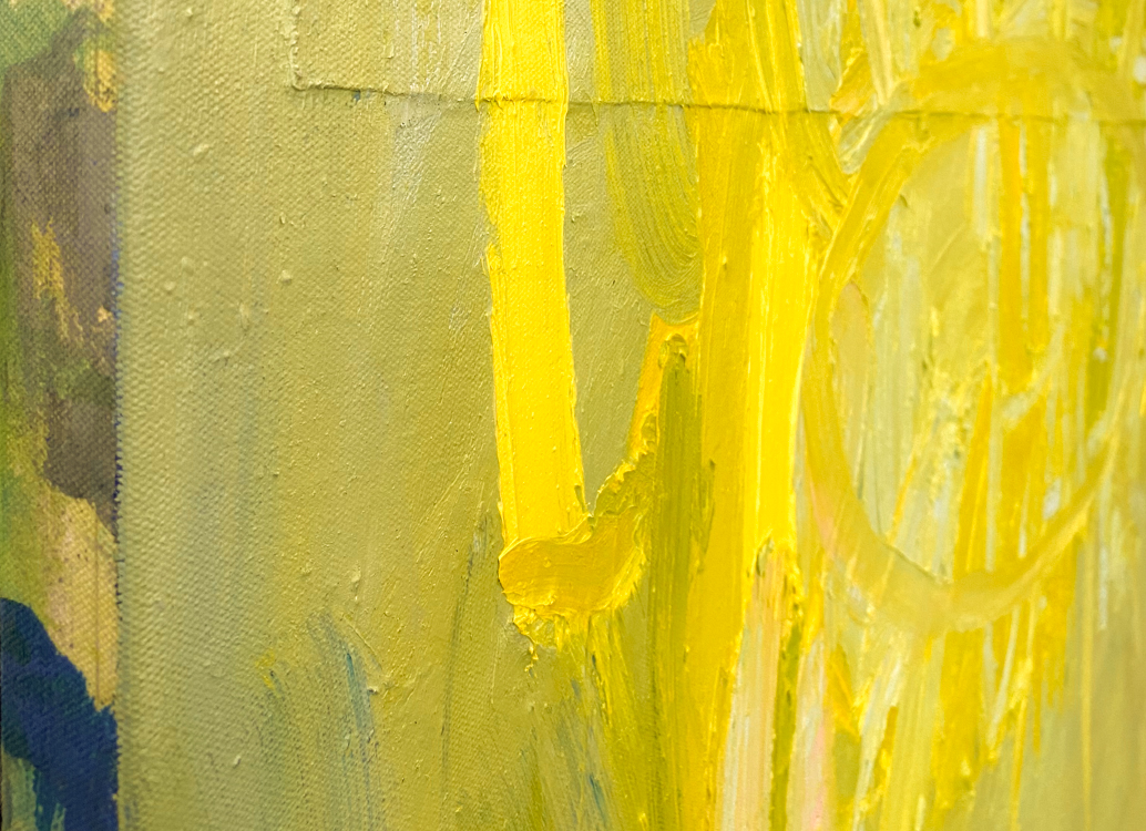 large yellow abstract painting los angeles artist Laura Letchinger POD detail 10