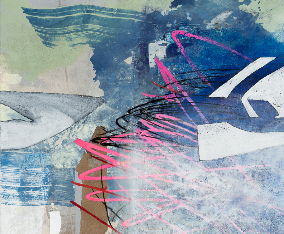 Large contemporary urban abstract painting Los Angeles artist Laura Letchinger detail3