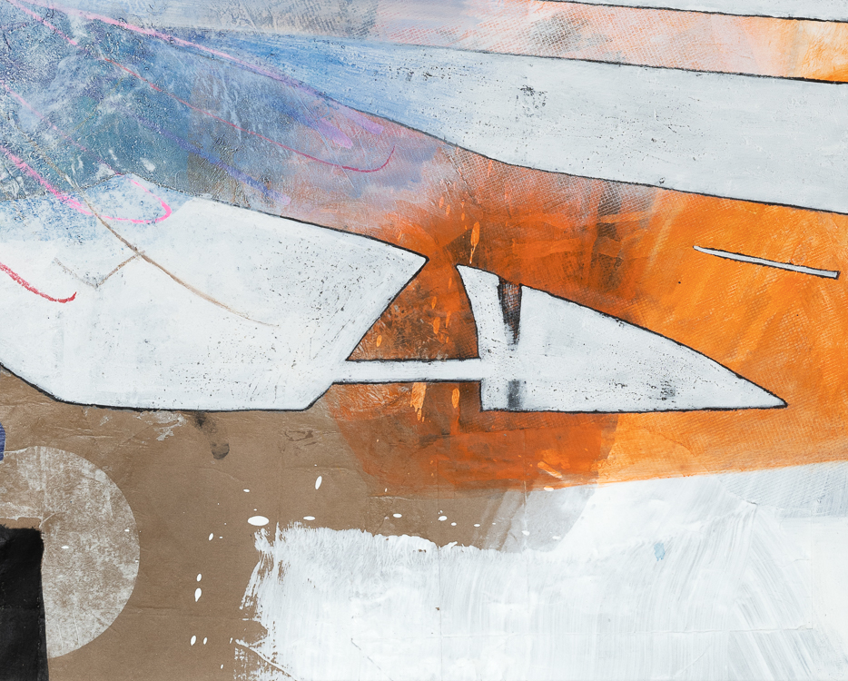 Large contemporary urban abstract painting Los Angeles artist Laura Letchinger detail6
