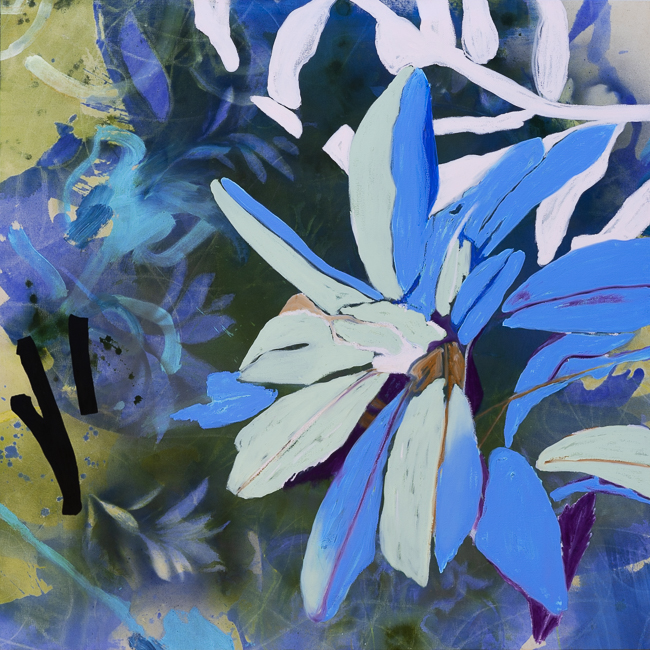 Large contemporary botanical flower painting Los Angeles artist Laura Letchinger PETALS