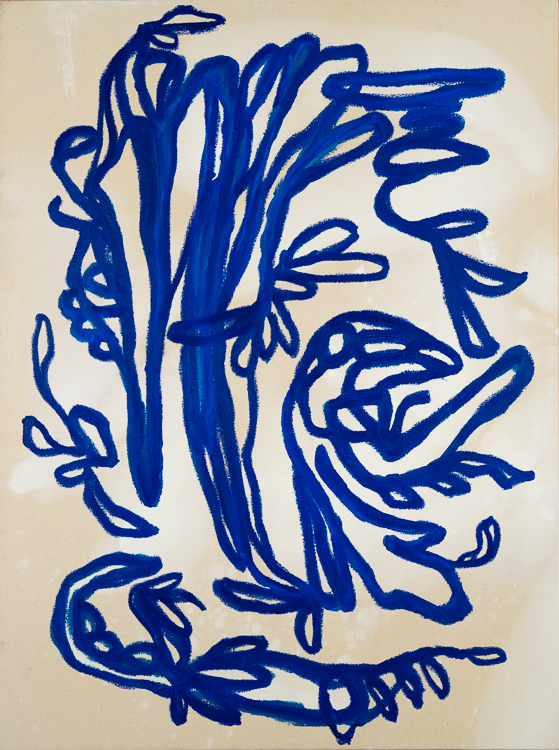 Contemporary blue line painting Laura Letchinger BLUE 1
