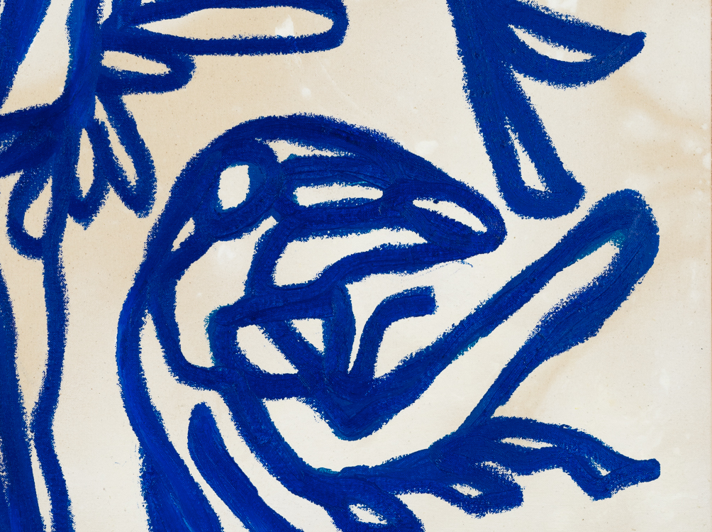 Contemporary blue line painting Laura Letchinger BLUE 1 detail 1