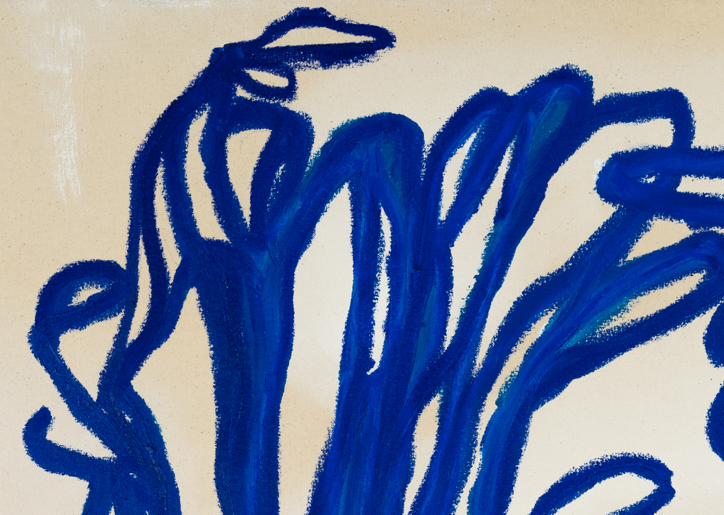 Contemporary blue line painting Laura Letchinger BLUE 1 detail 2