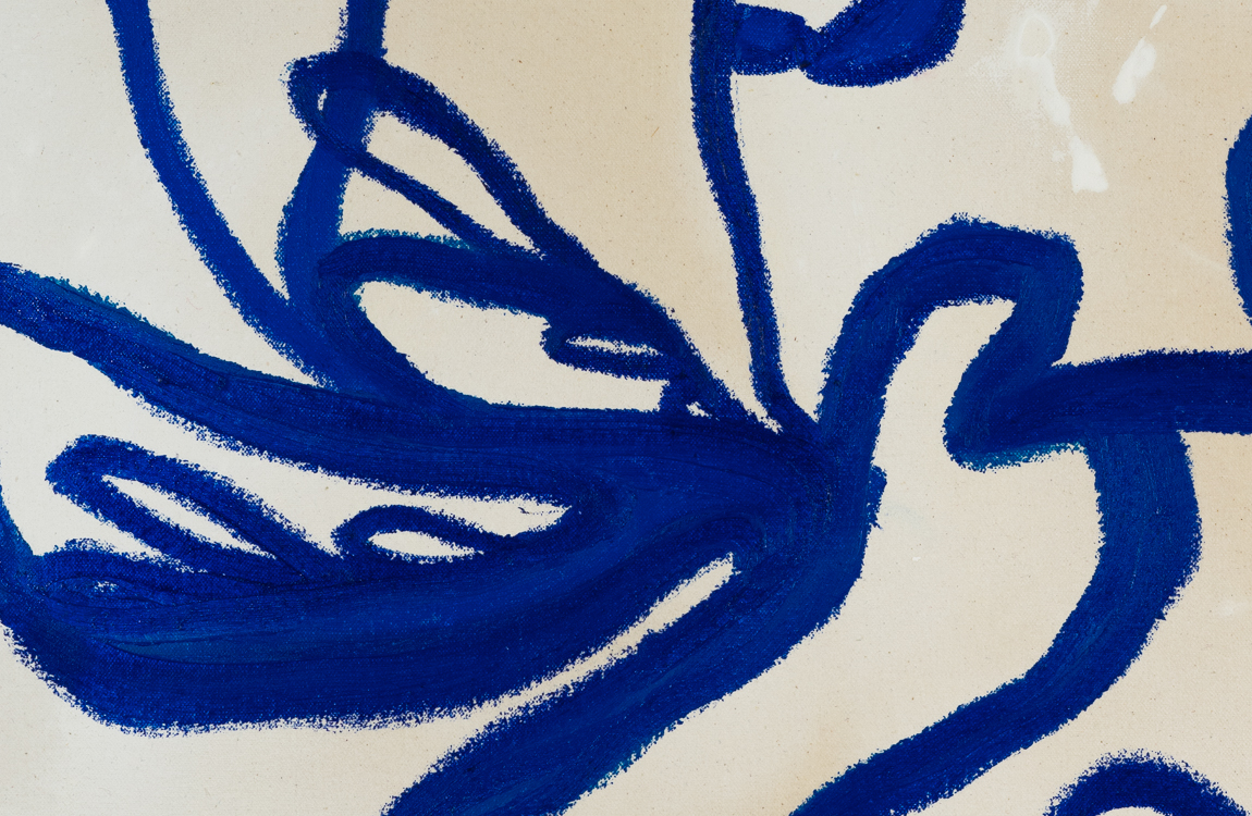 Contemporary blue line painting Laura Letchinger BLUE 2 detail 2