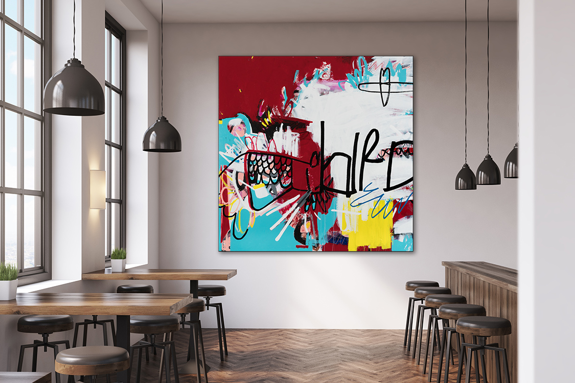 Large colorful contemporary urban abstract expressionism bird painting in situ Laura Letchinger JACKBIRD