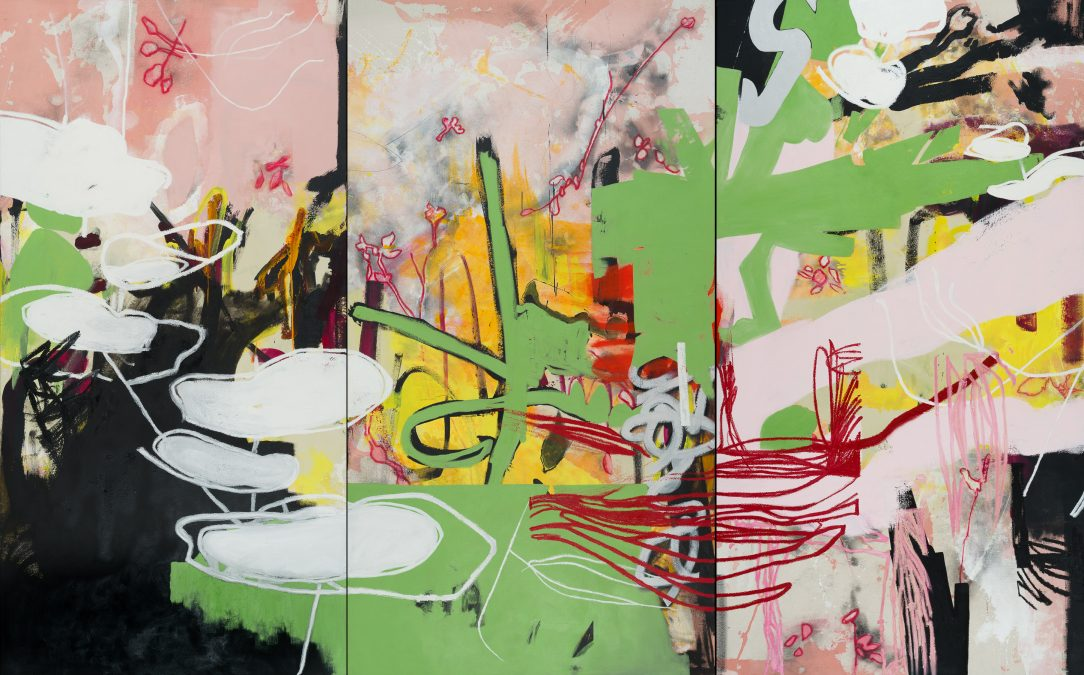 Extra large colorful urban contemporary abstract painting street graffiti edge detail Los Angeles artist Laura Letchinger