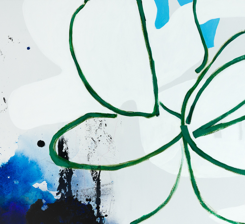 Large light contemporary abstract painting Laura Letchinger Los Angeles Artist detail 1