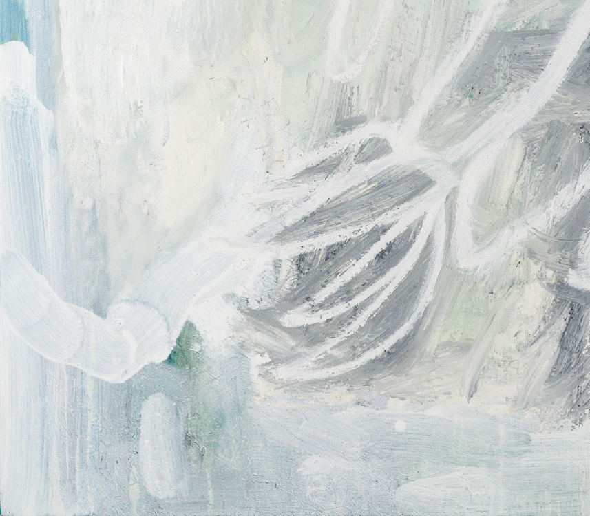 large white contemporary abstract painting Los Angeles artist Laura Letchinger detail2
