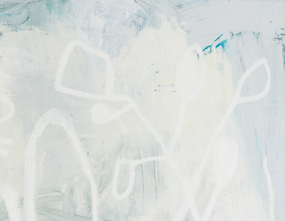 large white contemporary abstract painting Los Angeles artist Laura Letchinger detail4